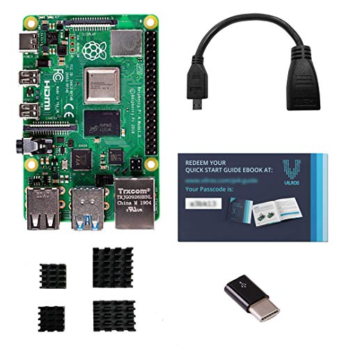 Vilros Raspberry Pi 4 with USB-C & Micro HDMI Adapters Quickstart Guide E-Book 4GB