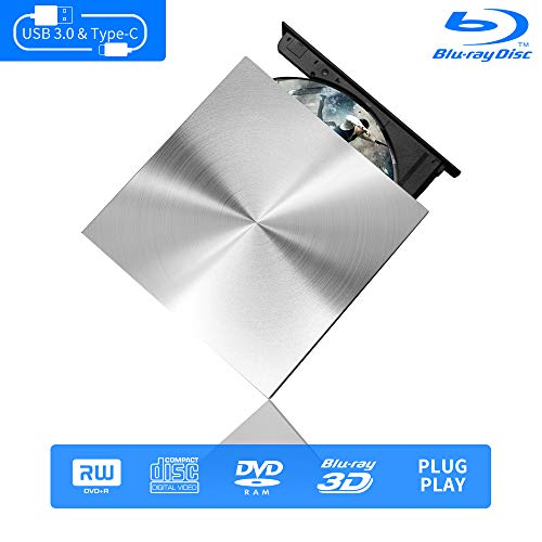 External Blu Ray DVD Drive 3D 4K, USB C & 3.0 Burner Slim Optical Portable Blu-ray CD DVD Reader Writer RW Player for Laptop Desktop MacBook OS Windows 7 8 10 PC iMac Laptop Silver