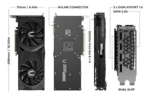 ZOTAC GAMING GeForce RTX 2070 SUPER Twin Fan 8GB GDDR6 256-bit 14Gbps Gaming Graphics Card, IceStorm 2.0, Spectra Lighting, ZT-T20710F-10P