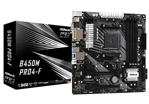 ASRock B450M PRO4-F Socket AM4/ AMD Promontory B450/ DDR4/ Quad CrossFireX/ SATA3&USB3.1/ M.2/ A&GbE/MicroATX Motherboard