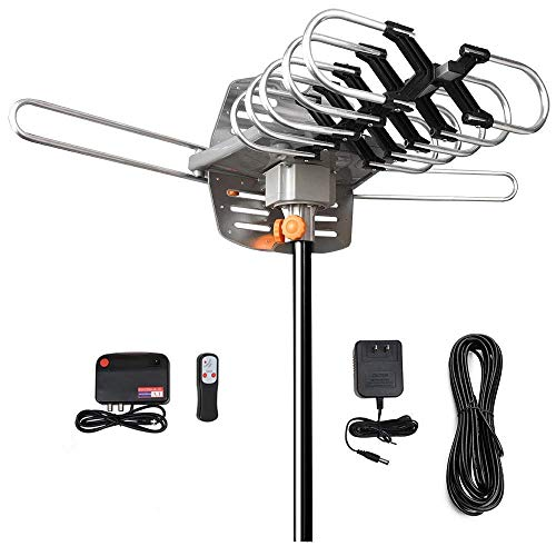 Amplified Digital Outdoor TV Antenna 150 Mile Range 360° Rotation Support 2 TVs for UHF/VHF Channels – HDTV Antenna – for Full HD 1080P 4KWithout Mounting Pole