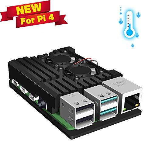 Jun-Electron for Raspberry Pi 4 Model B Case, Dual Cooling Fan, Enclosure Aluminum Alloy Case with Heatsink Pillar