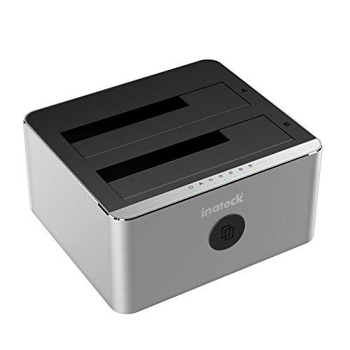Inateck Aluminum SATA Hard Drive Docking Station, USB 3.0 SATA SSD Docking Station, Dual Bay, FD2102