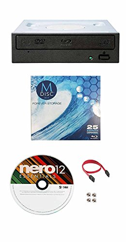 Pioneer 16X BDR-209DBK Internal Blu-ray Burner Bundle with 1 Pack M-DISC BD, Nero Burning Software and Cable Accessories SATA Interface