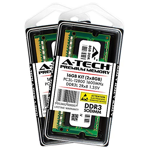 A-Tech 16GB Kit 2X 8GB DDR3/DDR3L 1600MHz PC3L-12800 2Rx8 1.35V CL11 Non ECC Unbuffered Low Voltage 204 Pin SODIMM Laptop Notebook Computer Memory Ram Upgrade