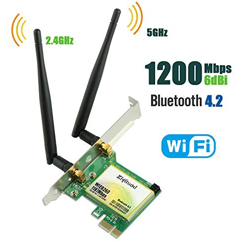 Ziyituod PCIe WiFi Card, Bluetooth 4.2 AC 1200Mbps Wireless Network Card, Wi-Fi Card Dual Band 2.4GHz 300Mbps or 5GHz 867Mbps, Support Windows 10/8/7/Linux