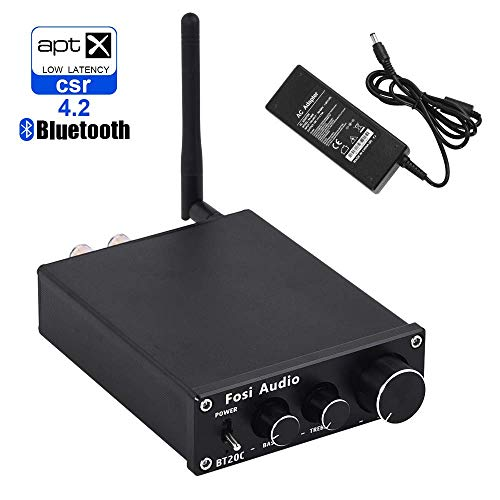 BT20C Bluetooth 4.2 Stereo Audio Amplifier 2 Channel Home Receiver Mini Hi-Fi Class D Integrated Amp 2.0CH Digital Power Amplifier for Passive Speakers with Bass and Treble Control 50W X 2