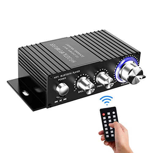 100W Dual Channel Sound Power Audio Receiver USB, AUX for Home Speakers with Remote Control – Wireless Bluetooth Stereo Mini Amplifier – Power Adapter Not Included