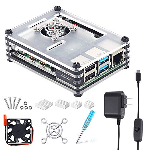 Auihiay Case Compatible with Raspberry Pi 4 B, Acrylic Case with Cooling Fan, Heatsinks, 5V 3A USB-C Power Supply with ON/Off Switch for Pi 4 Model BR-Pi 4 Board Not Included