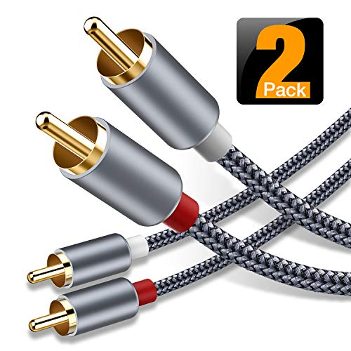 6 Feet, 2-Pack – RCA Cable, Oldboytech 2-Male to 2-Male RCA Audio Stereo Subwoofer Cable Hi-Fi Sound Nylon-Braided Auxiliary Audio Cord for Home Theater, HDTV, Amplifiers, Hi-Fi Systems,Speakers