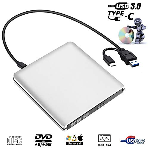 External DVD Drive,USB 3.0 Portable CD Drive +/-RW Drive PlayerWriter/Rewriter/Burner High Speed Data Transfer for MacBoo,Laptops,Desktops,Notebooks Support Windows 10