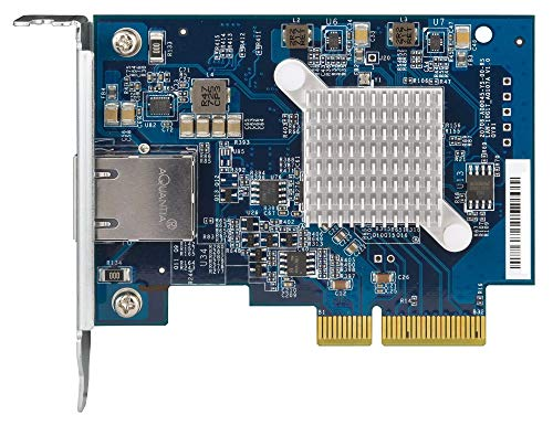 QNAP QXG-10G1T Single-Port 10Gbase-T 10GbE Network Expansion Card, PCIe Gen3 X4, Low-Profile Bracket Pre-Loaded, Low-Profile Flat and Full-Height Brackets are Included