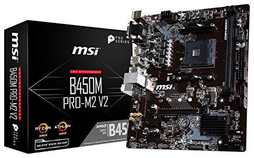 MSI ProSeries AMD Ryzen 1st and 2nd Gen AM4 M.2 USB 3 DDR4 D-SUB DVI HDMI Micro-ATX Motherboard B450M PRO-M2 V2