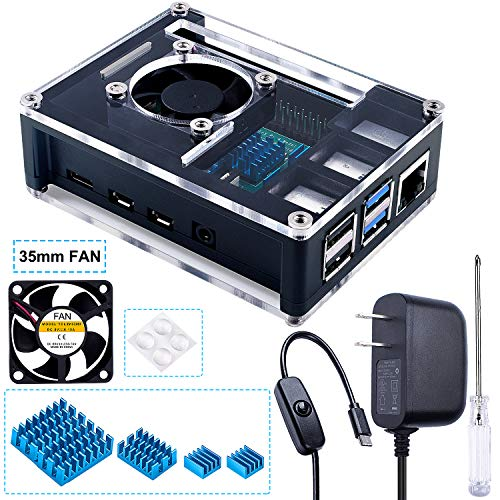Miuzei Case for Raspberry Pi 4 with Cooling Fan, 4 Pcs Heatsinks, 3A USB-C Power Supply for Raspberry Pi 4 Model BFour-Layer Case