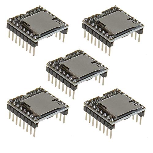 Anmbest 5PCS YX5200 DFPlayer Mini MP3 Player Module MP3 Voice Decode Board Supporting TF Card U-Disk IO/Serial Port/AD for Arduino