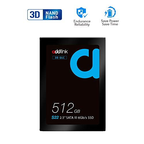 addlink S22 512GB SSD QLC SATA III 6Gb/s 2.5 inch/7mm Internal Solid State Drive with Read 550MB/s Write 500MB/s