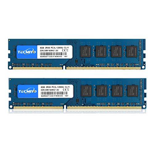 TECMIYO 16GB Kit 2x8GB DDR3 / DDR3L 1600MHz UDIMM, PC3 / PC3L-12800 DIMM, PC3 / PC3L-12800U Non ECC Unbuffered 1.35V/1.5V CL11 2RX8 Dual Rank 240 Pin Desktop RAM Computer Memory Module