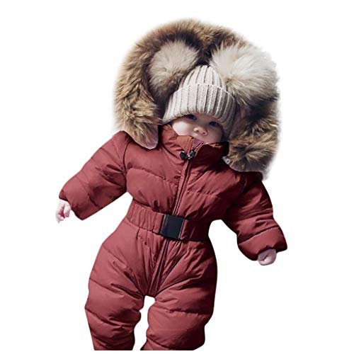 Baby Snowsuit Puffer Down Jacket Hooded Romper Jumpsuit Warm Thick Coat Outfit 18-24 Months, Brown