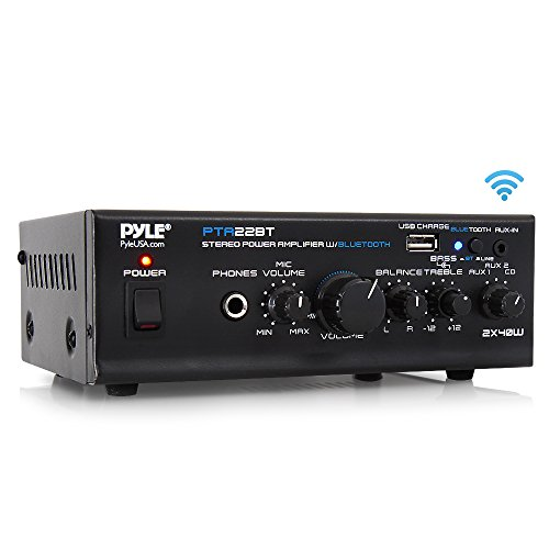 Compact Desktop Home Theater Stereo Amplifier Receiver with USB Charge Port | Pager & Mixer Karaoke Modes | Mic Input 40 Watt x 2 | Pyle PTA22BT – Bluetooth Mini Blue Series Home Audio Amplifier