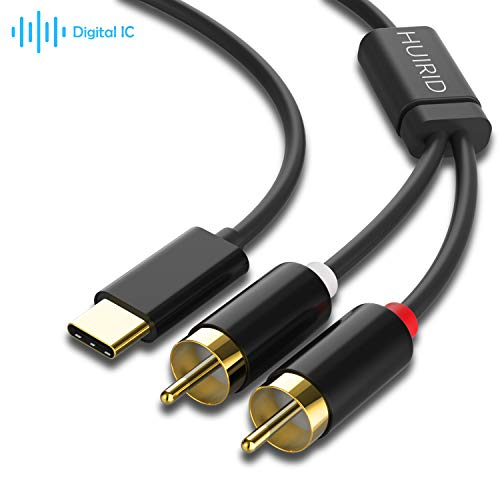 USB C to RCA Audio Cable, HUIRID USB-C to 2 RCA Type C to RCA Male to Male Y Splitter Cord with DAC Chip Compatible with Pad Pro 2018,Google Pixel 3/2/2XL MacBook Moto Z,Google Pixel 3/2/XL 6ft