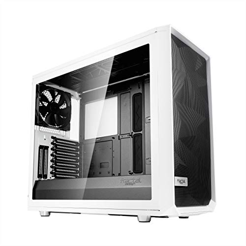 USB Type C – Mid Tower Computer Case – White Tempered Glass – Modular Interior – 3X Silent Fans – Water-Cooling Ready – PSU Shroud – Fractal Design Meshify S2 – Airflow/Performance