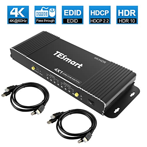TESmart HDMI KVM Switch 4 Port 4K@60Hz Ultra HD 4×1 HDMI KVM Switcher with 2 Pcs 5ft KVM Cables Supports USB 2.0 Devices, Mechanical and Multimedia Keyboard and Mouse Pass Through Control up to 4 PCs