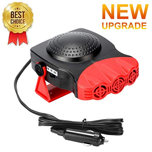 Car Heater,Car Defogger,Windshield Defroster Plugs into Cigarette Lighter,Auto Electronic Heater Fan Fast Heating Defrost 12V 150W Car Heater 2 in 1 Heating Cooling Function 3-Outlet Car Heater Red