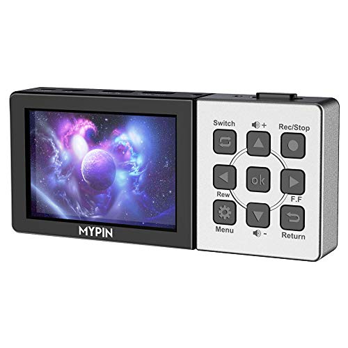 MYPIN 3.5 Inch LCD HD Video Capture Device with Remote Control, 1080P@60fps HDMI Video Recorder for PS4, Xbox One,LiveTV,DVR, Support Playback/Schedule Recording/Mic inWithout PC