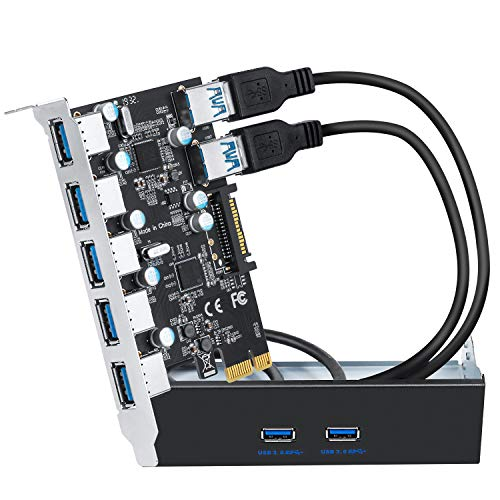 """QNINE Superspeed 7 Ports USB 3.0 PCIe Expansion Card, PCIe USB 3.0 Card Include 5.25"""" USB 3.0 Front Panel Hub and 2 Power Cables for Windows XP/Vista/7/8/10/Linux"""