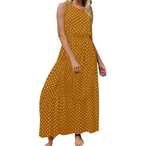 AIEason Women's Summer Boho Casual Long Maxi Evening Party Beach Dress Sundress M, Yellow