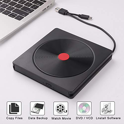 External CD DVD Drive JFUNE USB 3.0 Type C Optical Drive Portable CD DVD +/-RW Drive Slim DVD/CD ROM Rewriter Burner Writer Compatible for Laptop Desktop PC Windows Linux OS MacBook Black