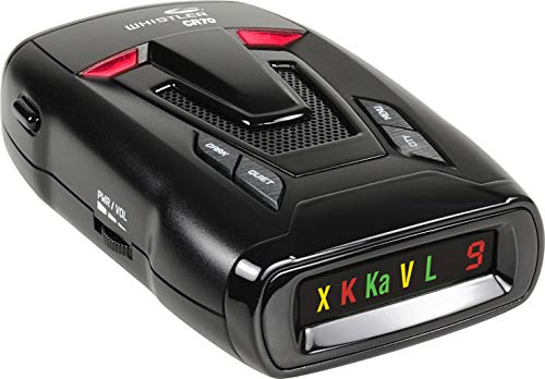 Whistler CR70 Laser Radar Detector: 360 Degree Protection and Voice Alerts – Black