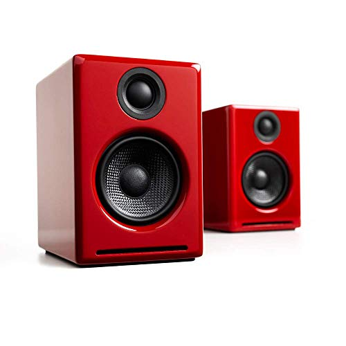 Audioengine A2+ Wireless 60W Powered Desktop Speakers, Bluetooth aptX Codec, Built-in 16Bit DAC and Amplifier Red