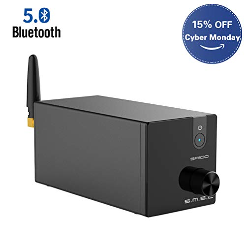 SMSL SA100 2 Channel Stereo Audio Amplifier Bluetooth Receiver Mini Hi-Fi Class D TPA3116 Amp for Home Speakers 50W x 2 Black