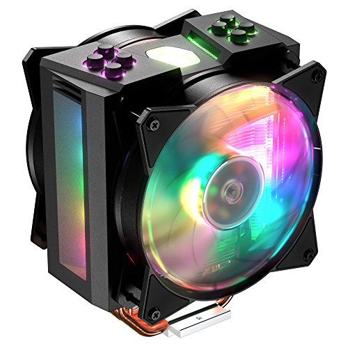 Cooler Master MasterAir MA410M Addressable RGB CPU Air Cooler w/ Independently LEDs, 4 Continuous Direct Contact 2.0 Heatpipes, Aluminum Fins, Push-Pull, Dual MF120R 120mm Fans, AMD Ryzen/Intel1151