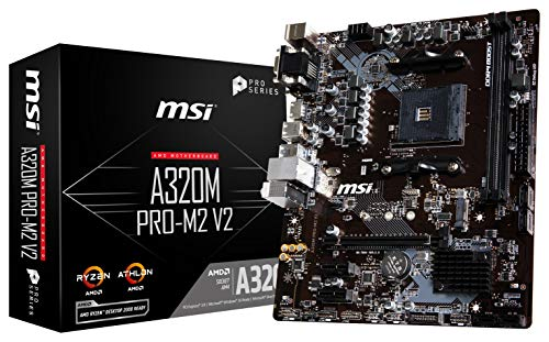 MSI ProSeries AMD A320 Ryzen 1st and 2ND Gen AM4 DDR4 HDMI DVI VGA M.2 USB 3 Micro-ATX Motherboard A320M PRO-M2 V2
