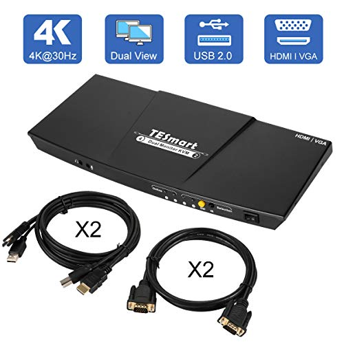 TESmart Dual-Monitor-KVM-Switch-2 Port 2 HDMI Ports and 2 VGA Ports Updated 4K@30Hz KVM Switch HDMI with Remote Microphone and L/R Output kvm Switch with 2 PCS KVM Cables and VGA Cable