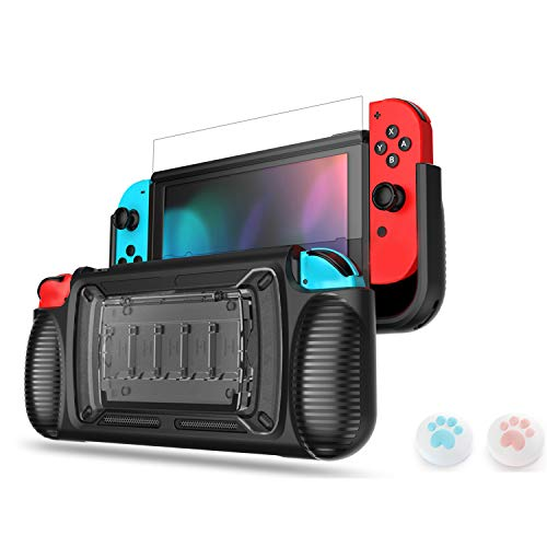 LeyuSmart Upgrade Grip Case for Nintendo Switch, Protective Cover & Tempered Glass Screen Protector & Thumb Caps, Ergonomic Design Comfortable Handheld Protector Gray