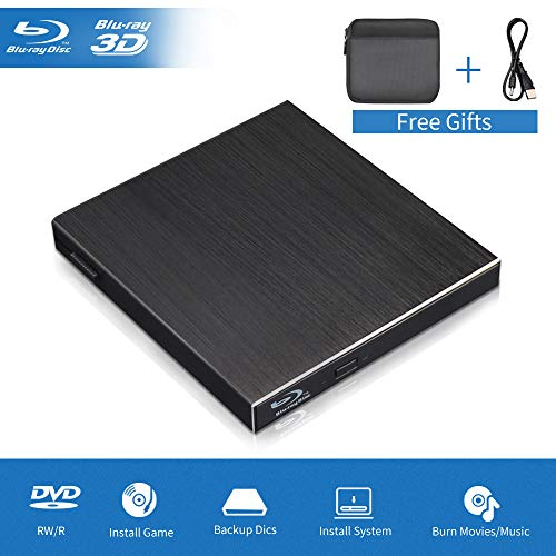 Blu Ray External 3D Drive, USB 3.0 & Type C Optical Blu Ray Portable Aluminum Slim Disk Player Burner Writer Reader for Windows XP/7/8/10, MacOS, Linux for MacBook, Laptop, Desktop Black
