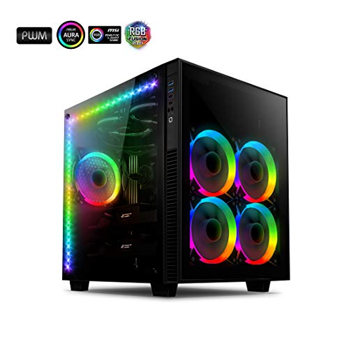Black AI-CL-Cube-AR3 – anidees AI Crystal Cube AR V3 Dual Chamber Tempered Glass EATX/ATX PC Gaming Computer Case, Water-Cooling Ready, Steel Structure, w/ 5 RGB PWM Fans / 2 LED Strips