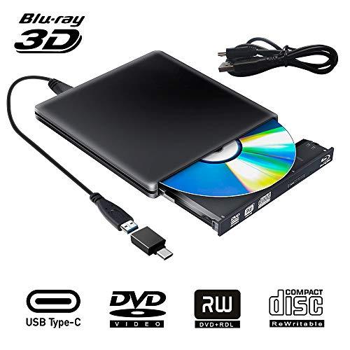 External Blu Ray DVD Drive 3D, USB 3.0 Typc C Portable Bluray DVD CD Optical Burner RW CD Row for MacBook OS Windows 7 8 10 PC iMac Laptop