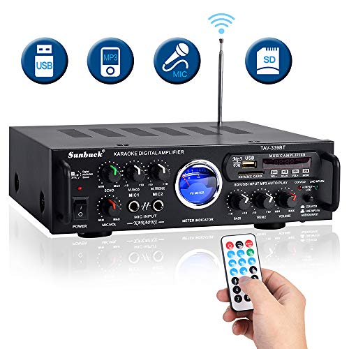 600W 2 Channel Sound Stereo Audio Speaker Receiver w/USB, SD, FM Radio, 2 Mics in Control for Home Theater with Remote Control TAV-339BT – Sunbuck Wireless Karaoke Bluetooth Power Amplifier System