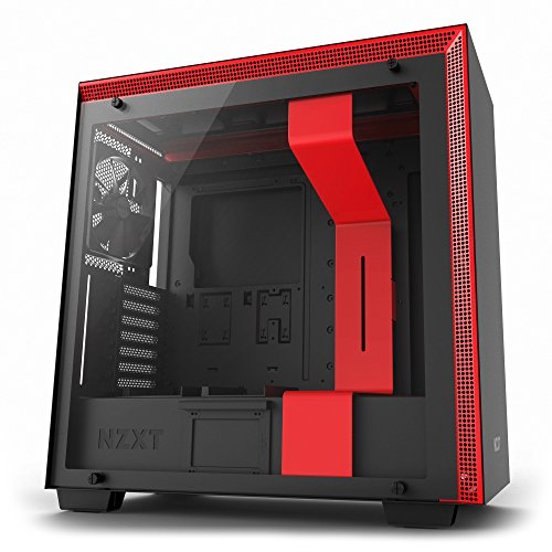 Enhanced Cable Management System – Water-Cooling Ready – NZXT H700 – 2018 Model – Black/Red – ATX Mid-Tower PC Gaming Case – Tempered Glass Panel