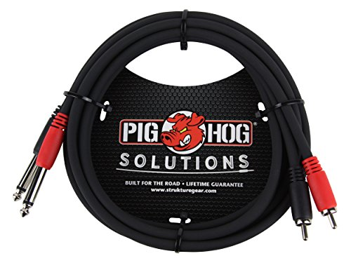Pig Hog PD-R1406 Dual RCA Male to Dual 1/4″ Mono Male Cable, 6 Feet