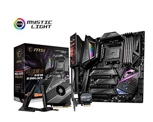 MSI MEG X570 GODLIKE Motherboard AMD AM4, PCIe 4.0, DDR4, SATA 6Gb/s, Triple M.2, USB 3.2, AX Wi-Fi 6, 10G Super LAN, Extended-ATX