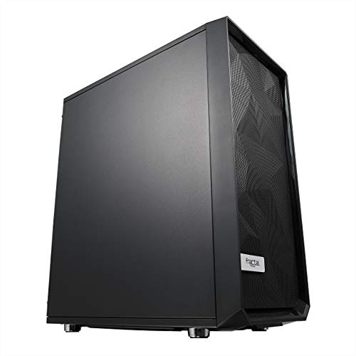 Modular Interior – 2X Fans Included – Open ATX Layout- High Performance Airflow/Cooling – Water-cooling Ready – PSU Shroud – USB3.0 – Compact Mid Tower Computer Case – Fractal Design Meshify C – Black