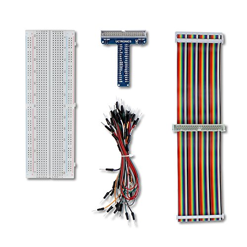 UCTRONICS GPIO Breakout Kit for Raspberry Pi – Assembled Pi T- Type Breakout + 830 Tie Points Solderless Breadboard + 40 Pin Male – Male Rainbow Ribbon Cable + 65pcs Jump Wires – Female