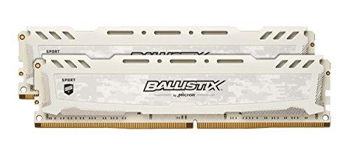 Crucial Ballistix Sport LT 2666 MHz DDR4 DRAM Desktop Gaming Memory Kit 16GB 8GBx2 CL16 BLS2K8G4D26BFSCK White