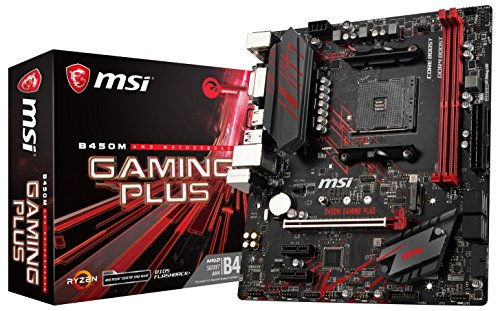 MSI Performance Gaming AMD Ryzen 1st and 2nd Gen AM4 M.2 USB 3 DDR4 DVI HDMI Micro-ATX Motherboard B450M Gaming Plus, mATX