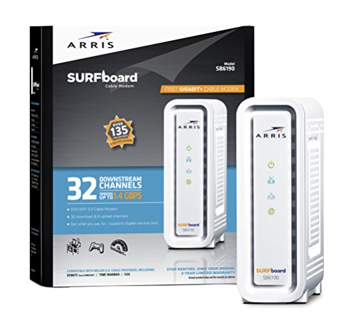ARRIS SURFboard SB6190 DOCSIS 3.0 Cable Modem – White – Retail Packaging